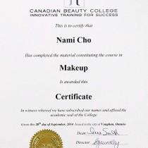 Nami Cho Certificate